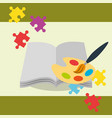open book with paint brush palette color puzzles vector image