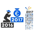 Pray For Euro 2017 Icon With 2017 Year Bonus vector image vector image