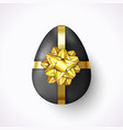 realistic easter egg with gold ribbon and gift bow vector image vector image
