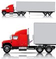 red semi- truck with trailer vector image vector image