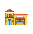 restaurant building line icon concept restaurant vector image vector image
