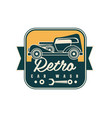 retro car wash logo design auto service badge vector image vector image