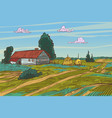 rural landscape autumn field village houses vector image