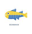 seabass sea fish geometric flat style design vector image vector image