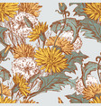seamless background of dandelions sketches vector image vector image