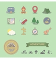 Set of colored camping equipment symbols and icons