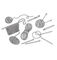 set of knitting tools and yarn vector image
