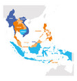 southeast asia region map countries in vector image vector image