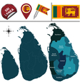 Sri Lanka map with named divisions vector image vector image