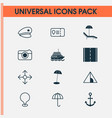 travel icons set with camera beach police cap vector image vector image