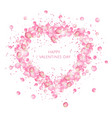 valentine s greeting card heart of rose petals vector image