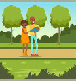 young couple with newborn baby in park vector image