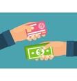 Hands holding money plastic card Exchange transfer vector image