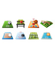 3d playgrounds for different kinds sports icon vector image