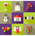 9 Christmas Flat Icons Set 5 vector image vector image