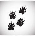 animal paws on snow on white background vector image