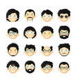 asian men head avatar iconset with beards vector image