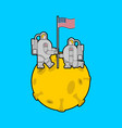astronaut on moon and flag usa cosmonaut made in vector image vector image