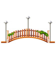 Bridge with fence and lamps vector image