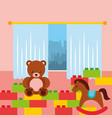 classroom kinder bear rocking horse and bricks vector image