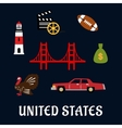 Colored flat travel United States icons vector image