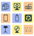 computer icons set with mobile phone webcam vector image vector image