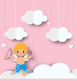 cute cupid boy with arrows standing on clouds in vector image vector image