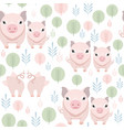 cute pig seamless pattern on white background vector image vector image