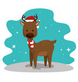 deer with hat and scarf to merry christmas vector image vector image