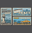 dispatch service tickets and airport taxi posters vector image vector image