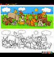 dogs animal characters large group color book vector image vector image