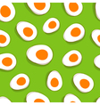 Easter egg pattern yellow eggs on green delicious vector image vector image