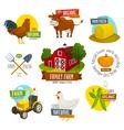 Farm labels set cartoon farming emblems with vector image vector image