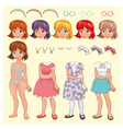Female avatar with different dresses and items vector image vector image