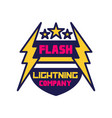 flash lightning company logo template badge vector image vector image