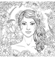 girl flowers outline4 vector image