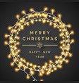 glowing christmas lights wreath on dark background vector image