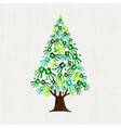 green pine tree with human hands for nature help vector image vector image