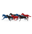 group seven horses running cartoon graphic vector image vector image