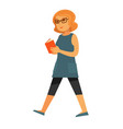happy woman walking with book vector image vector image