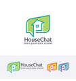 house chat logo design vector image vector image