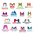 letter m corporate identity business icons vector image vector image