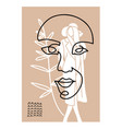 line woman face with female silhouette creative vector image