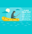 man fishing in rubber boat concept banner flat vector image