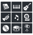 Music icons set on white background vector image vector image