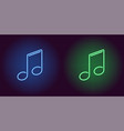 neon icon of blue and green musical note vector image vector image