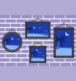 night summer beach frames on a wall vector image