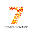 number seven with orange yellow red particles vector image vector image