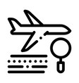 plane magnifier icon outline vector image vector image
