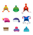 pompons winter hats set vector image vector image